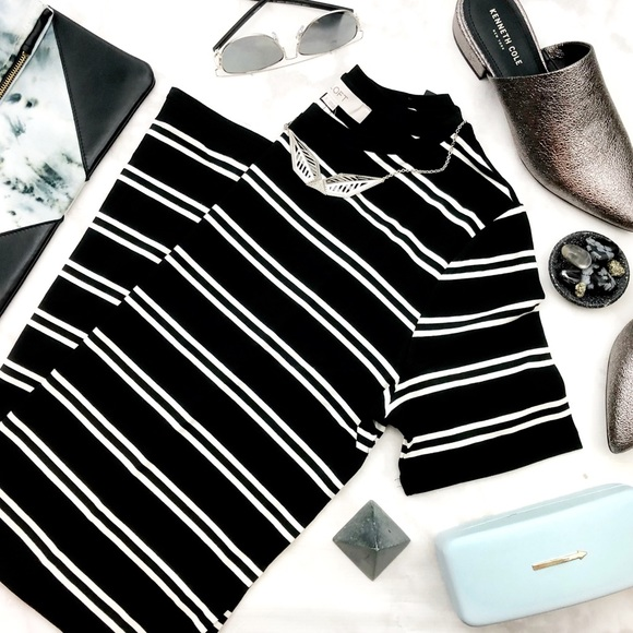 LOFT Dresses & Skirts - Black & White Striped Fitted Tee Dress